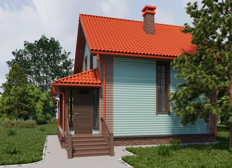 Боковой фасад и вход в дом