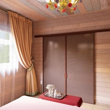 Спальня для молодых хозяев дома. Вход в гардеробную комнату.
