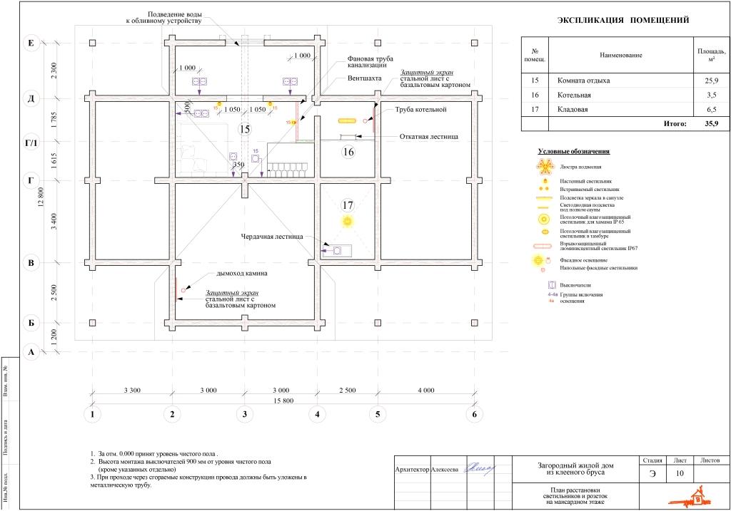 План размещения светильников и розеток на мансардном этаже