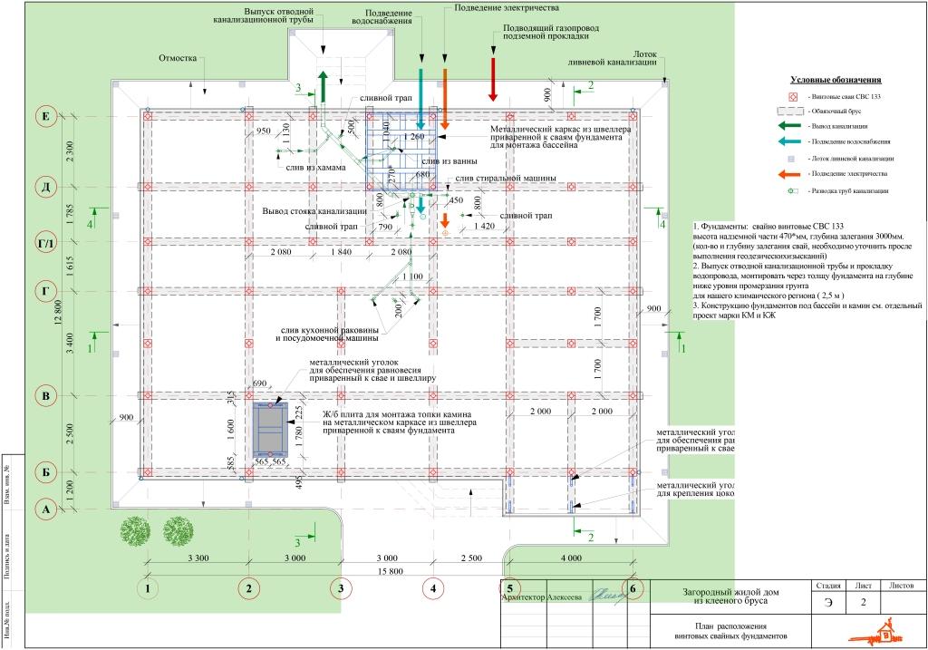 План расположения винтовых свайных фундаментов