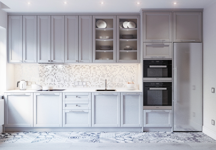 Серая кухня с фартуком из мозаики.